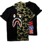 BAPE A BATHING APE Camo T-shirt Crew Neck Shark Head T Shirt Tops Mens Basic TEE image