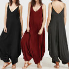 Womens Casual Cami Strappy Lagenlook Romper Drape Baggy Harem Jumpsuit Playsuit