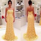 Yellow Long Lace Evening Dress Mermaid Gown 2015 Cheap Elegant Sexy Backless For