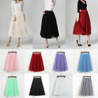 Women Girls Princess Ballet Tulle Tutu Skirt Party Wedding Elastic Mini Dress