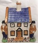 ANTIQUE STAFFORDSHIRE 2 MAN BANK HOUSE COTTAGE