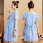Summer Korean Pregnant Women Clothes Striped Cotton Loose Maternity Shirt Dress