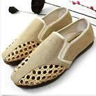Mens Canvas Cut Out Mesh Shoes Classic Weave Slip-On Loafers Espadrille New HOT