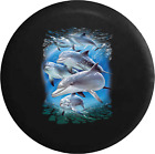 Happy Dolphins Swimming in the Warm Sunlit Ocean Jeep RV Spare Tire Cover