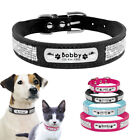 Rhinestone Personalized Dog Collar Custom Suede ID Collars Name Engraved XS-L