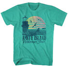 Jaws Vintage Amity Island Welcome Postcard Men's T-Shirt Sunset Green Heather