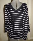 """NWOT CHAPS BLACK AND WHITE STRPED """"V"""" NECK PULLOVER SZ 3X"""