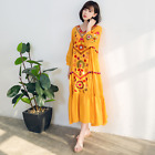 Womens Boho Long Dress Loose Fit Floral Embroidery Cotton Spring New Maxi Gown