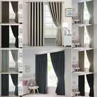 Pair Thermal Blackout Eyelet Ring Top Or Pencil Pleat Curtains W Free Tiebacks