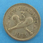 1933  3 Pence  New Zealand  Silver Coins # A-1