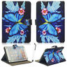 """For 7""""-10.1"""" Tablets Blue Butterfly Flower Universal Stand Leather Case Cover"""