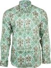 Relco Mens Platinum Green Paisley Long Sleeved Button Down Shirt Mod Skin 60s