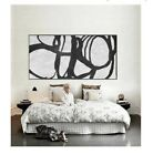 Hand Painted Abstract Oil Painting on Canvas Wall Art Black and White Music 688