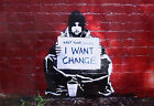 Banksy, I Want Change, Graffiti Art, Giclee Canvas Print, in various sizes