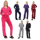 Womens Ladies Celebrity Velour Hooded Lounge Wear TOP Bottom Jogging Tracksuit
