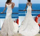 UK White/ivory Lace applique cap sleeve Mermaid Wedding Dresses Sizes 6-16