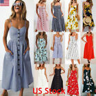 US Womens Strappy Button Pocket Holiday Dress Summer Beach Midi Swing Sundress