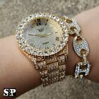 MEN'S HIP HOP ICED OUT LAB DIAMOND WATCH & GUCCI LINK CHAIN BRACELET COMBO SET image
