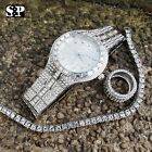 MEN HIP HOP ICED OUT LAB DIAMOND WATCH & RING & TENNIS CHAIN BRACELET COMBO SET image