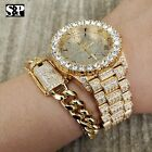 MEN'S HIP HOP ICED OUT LAB DIAMOND WATCH & CUBAN LINK CHAIN BRACELET COMBO SET image