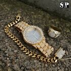 MEN HIP HOP ICED OUT LAB DIAMOND WATCH & RING & CUBAN CHAIN BRACELET COMBO SET image