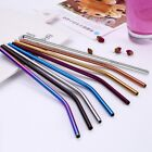 1/4PCS Drinking Straw Bent Stainless Steel Reusable Juice Drinks Cocktail Straw
