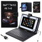 "US For 7"" 8"" 10"" 10.1"" Tablets Black Bear PU Leather Case W/ USB Keyboard Cover"