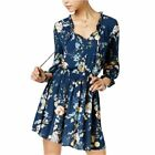 American Rag Long Sleeve Printed Ruffled Peasant Dress Navy Combo  $70