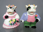 New Cow Bride & Groom Couple Getting Married 2 Cows in Wedding Dresses Figurine