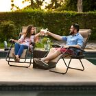 Folding Lounge Chair Set of 2 Outdoor Recliners w Cup Holder for Patio or Beach