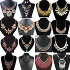 Women's Crystal Pendant Bib Choker Chain Statement Necklace Earrings Jewelry Set