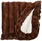BESSIE AND BARNIE Pet Blanket, Small, Natural Beauty/Godiva Brown with Ruffle
