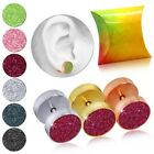 2 Earring Studs 10mm Fake Ear Plugs Cheater Piercing Glitter Gift-Box Steel