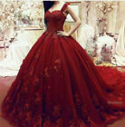 Red Elegant Applique Weddding Dresses Ball Gown Prom Formal Evening Gowns Custom