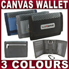 BOYS GENTS SMALL TRIFOLD CANVAS WALLET with BELT HOOK gym hiking running ripper