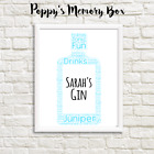 Personalised Gin Word Art Birthday Gift Print Friend, Christmas, Secret Santa
