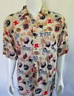 New England Patritos NFL Short Sleeve Button Down Shirt Men's Size Large