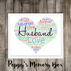Husband Personalised Hubby Love Word Art Birthday Father's Day Gift Print