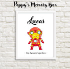 Personalised Boys Superhero Nursery New Baby Iron Man Birthday Gift Print