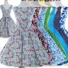 Retro Rockabilly 50s 60s Swing Vintage Dress Casual Print Floral Polka Dot Dress
