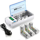 C D Size 5000/10000mAh Rechargeable Batteries+ AA AAA 9V NI-MH NI-Cd LCD Charger