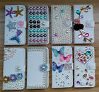 PU Leather Wallet Case Patterned Bling Crystal Diamond Cover For Samsung iPhone