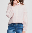NWT MOSSIMO Women's button-down blouse w/smocked sleeves-M or XL--Light pink