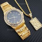 ICED OUT HIP HOP GOLD PT URBAN STYLE GOLDEN NUGGET WATCH & NECKLACE COMBO SET  image