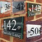 MODERN HOUSE SIGN PLAQUE DOOR NUMBER STREET GLASS EFFECT ACRYLIC NAME BROWN SIGN