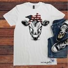 Cow Bandana Red White and Blue T-shirt, Patriotic Cow, American Cow, Cow Shirt