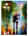 Hand Painted  Abstract Canvas Oil Painting Lover Walking Under Rain 801
