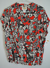 "NWT 12 40""bust Talbots Red Asian Floral Print Surplice Silk Chiffon Blouse Top"