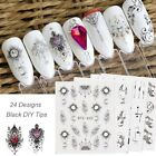 24 Sheets Lace Flower Dreamcatcher Decals Water Transfers Nail Art Stickers New