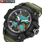 Men 2 Time Zone Analog-digital Sport Watch Backlight PU Plastic Strap Watches